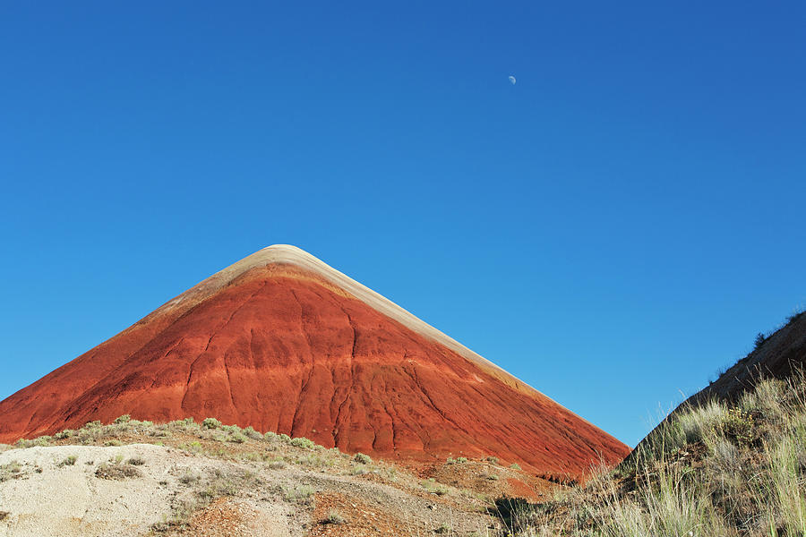 Painted Hills Desert With Quarter Moon Photograph by Sasha Weleber