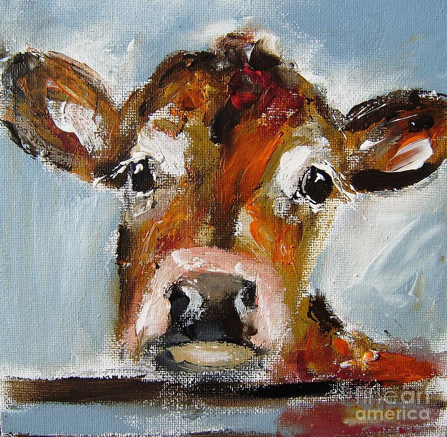 Cow Painting - Painting Of Beautiful Irish Cow by Mary Cahalan Lee- aka PIXI