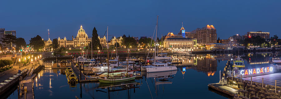 British Columbia Photograph - Panoramic Of Inner Harbor In Victoria by Chuck Haney