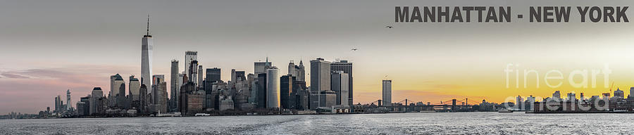 America Photograph - Panoramic View Of Manhattan Island And The Brooklyn Bridge At Su by PorqueNo Studios