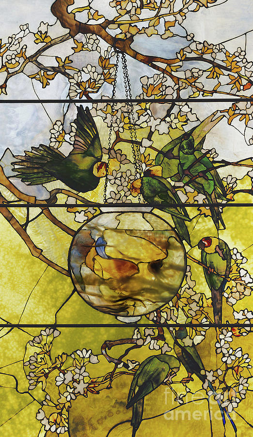 Stained Glass Glass Art - Parakeets And Gold Fish Bowl by Louis Comfort Tiffany