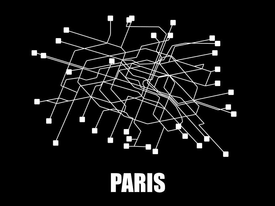 Black And White Subway Map.Paris Black Subway Map By Naxart Studio