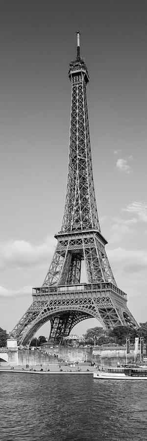 PARIS Eiffel Tower and River Seine - Panorama Monochrome by Melanie Viola