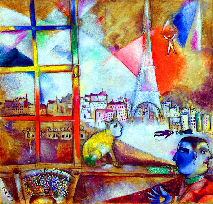 Marc Chagall Painting - Paris Through the Window by Marc Chagall