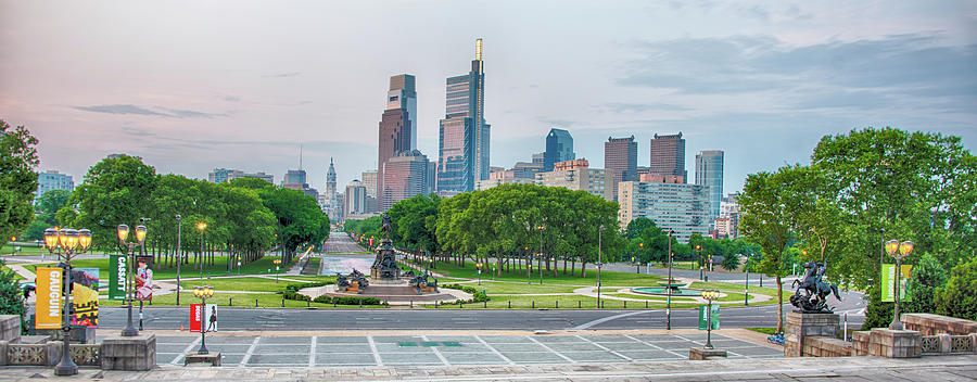 Parkway Photograph - Parkway Panorama - Philadelphia by Bill Cannon