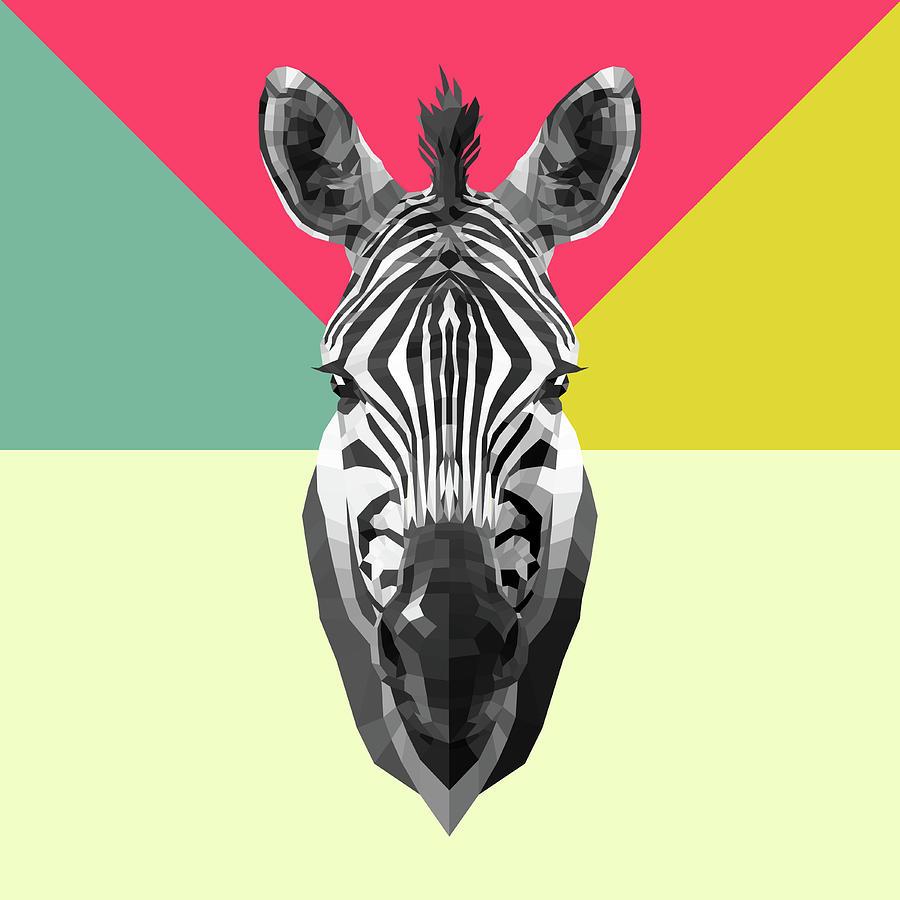 Zebra Digital Art - Party Zebra  by Naxart Studio