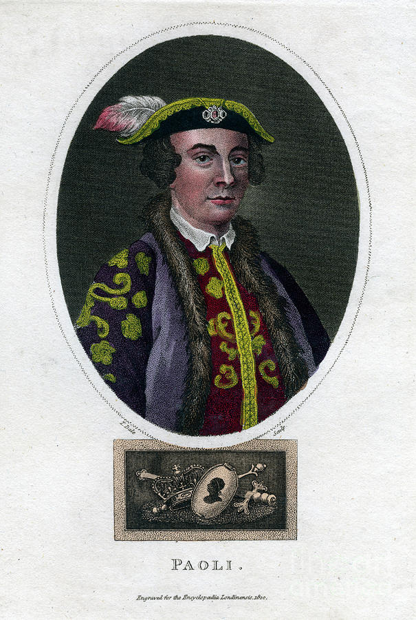 Pascal Paoli, 18th Century Corsican Drawing by Print Collector