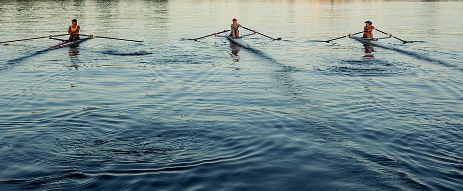 People Rowing Sculling Boats On River Photograph by Blend Images/pete Saloutos