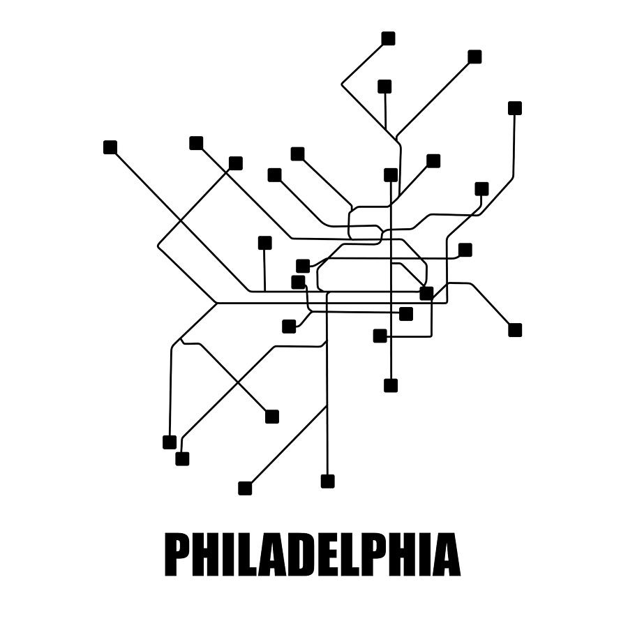 Philadelphia Digital Art - Philadelphia White Subway Map by Naxart Studio