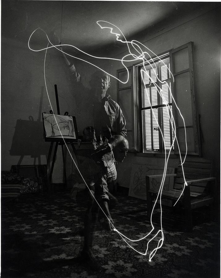 Picasso Drawing With Light Photograph by Gjon Mili