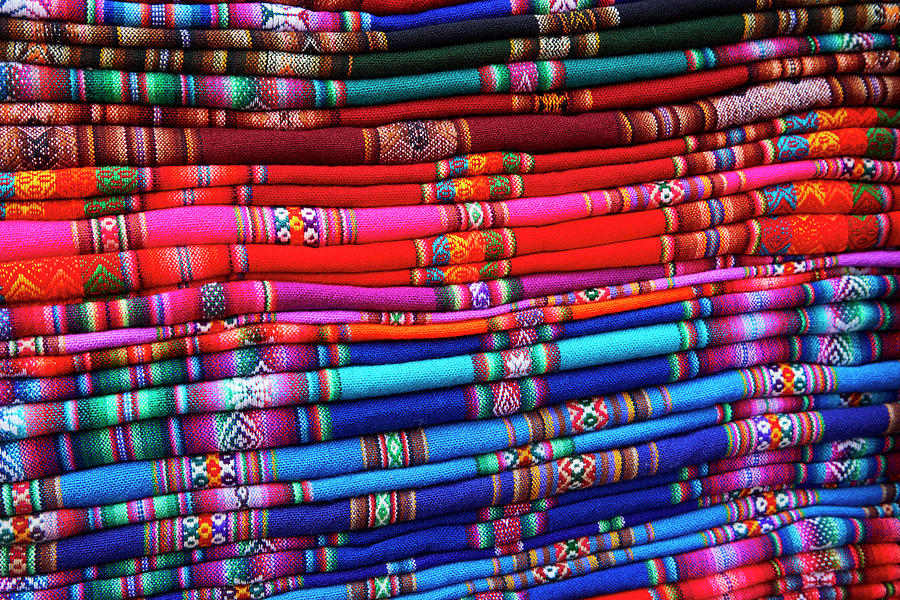 Bolivia Photograph - Piles Of Colorful Cloth For Sale by David Wall