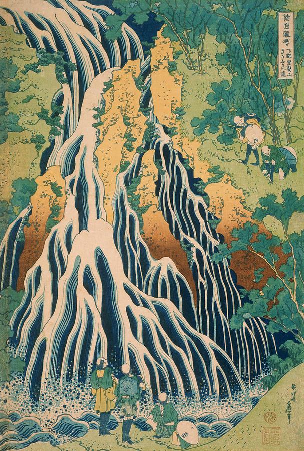 Japanese Painter Relief - Pilgrims At Kirifuri Waterfall On Mount Kurokami In Shimotsuke Province 1 by Katsushika Hokusai