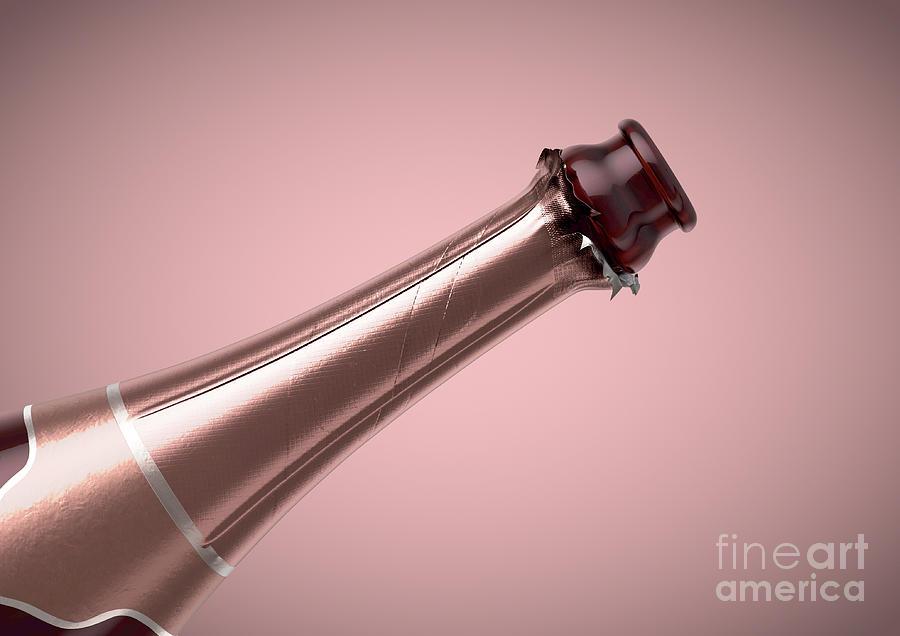 Sparkling Wine Digital Art - Pink Champagne Bottle Open Neck by Allan Swart
