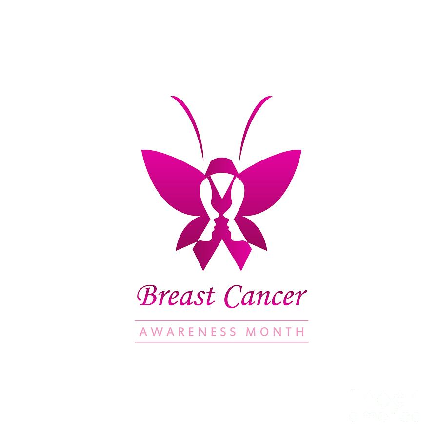 Pink Ribbon With Faces Of Women And Butterfly To Symbolize Breast Cancer Awareness Month October Digital Art By Shawlin