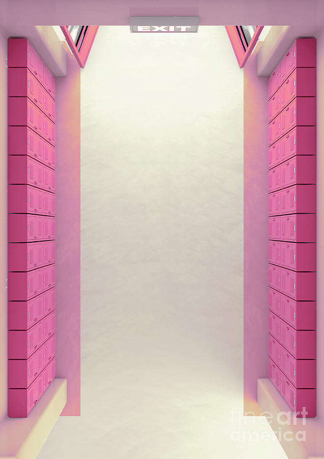 Locker Digital Art - Pink School Locker Corridor 1 by Allan Swart