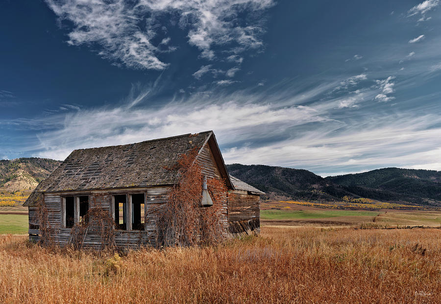 Antiquated Photograph - Pioneer Cabin  by Leland D Howard