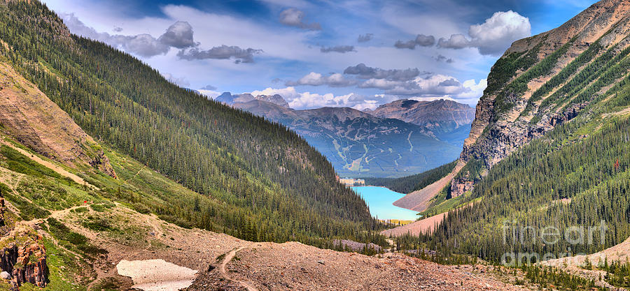 Plain Of Six Glaciers Afternoon Panorama by Adam Jewell