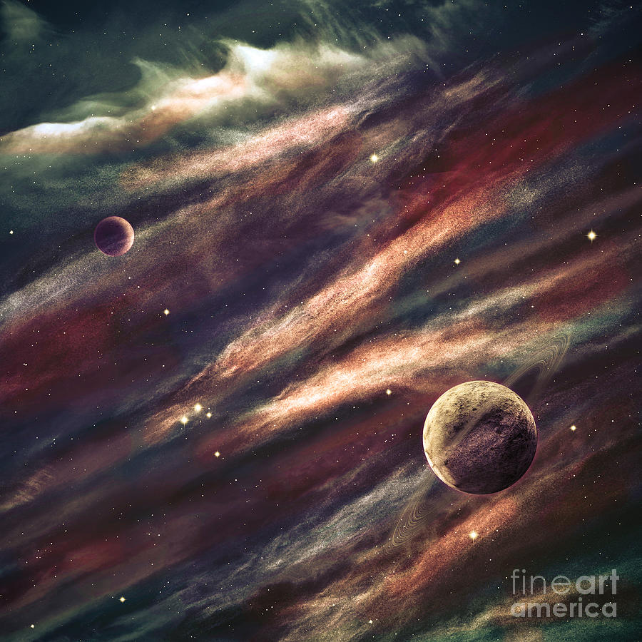 Harmony Photograph - Planets Over The Nebulae In Space by Vadim Sadovski