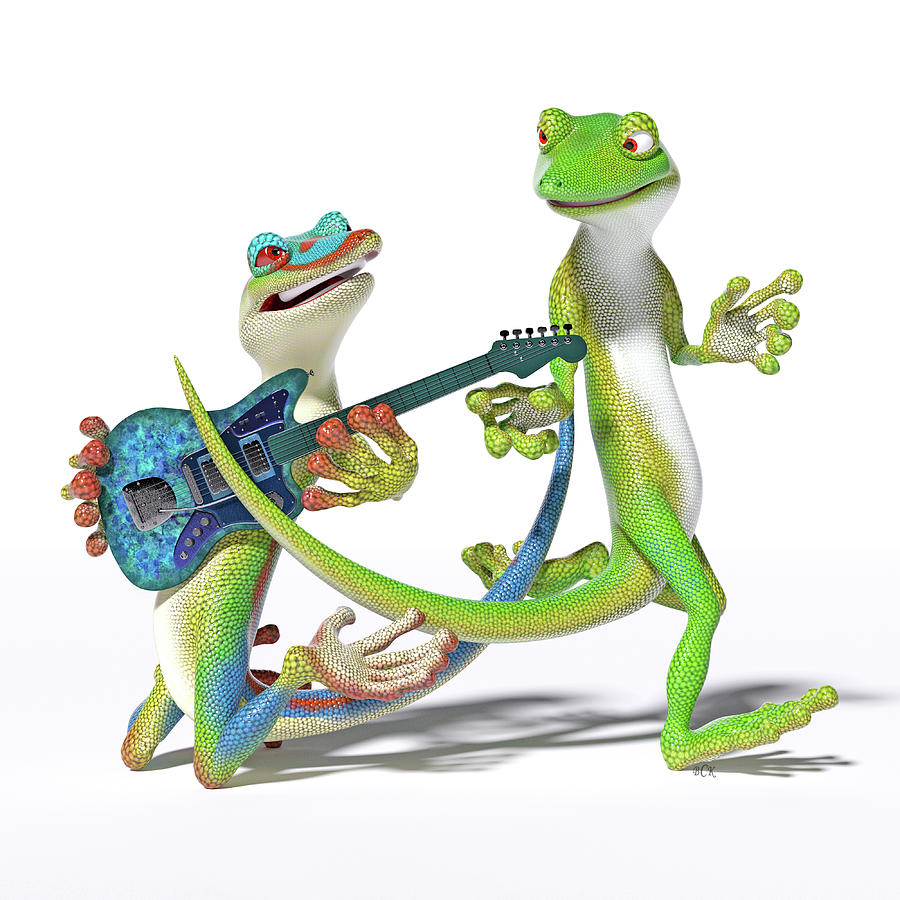Gecko Digital Art - Playing In The Band Geckos by Betsy Knapp