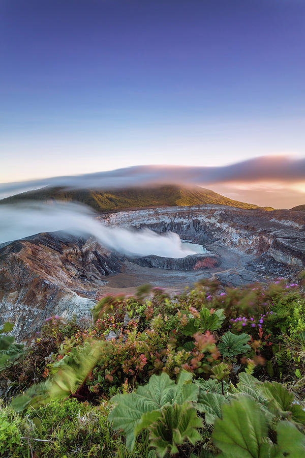 Poas Volcano Crater At Sunset, Costa Photograph by Matteo Colombo