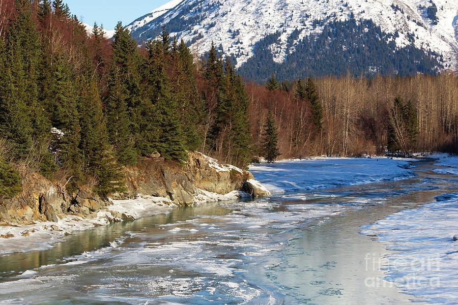 Portage Creek Photograph - Portage Creek Portage Glacier Highway, Alaska by Louise Heusinkveld