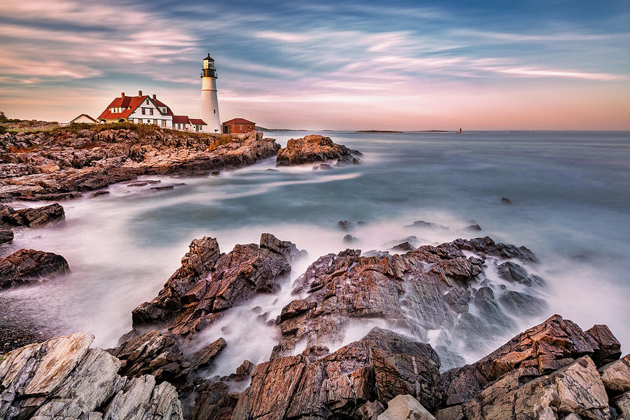 Portland Head light at dusk, in Maine by Mihai Andritoiu