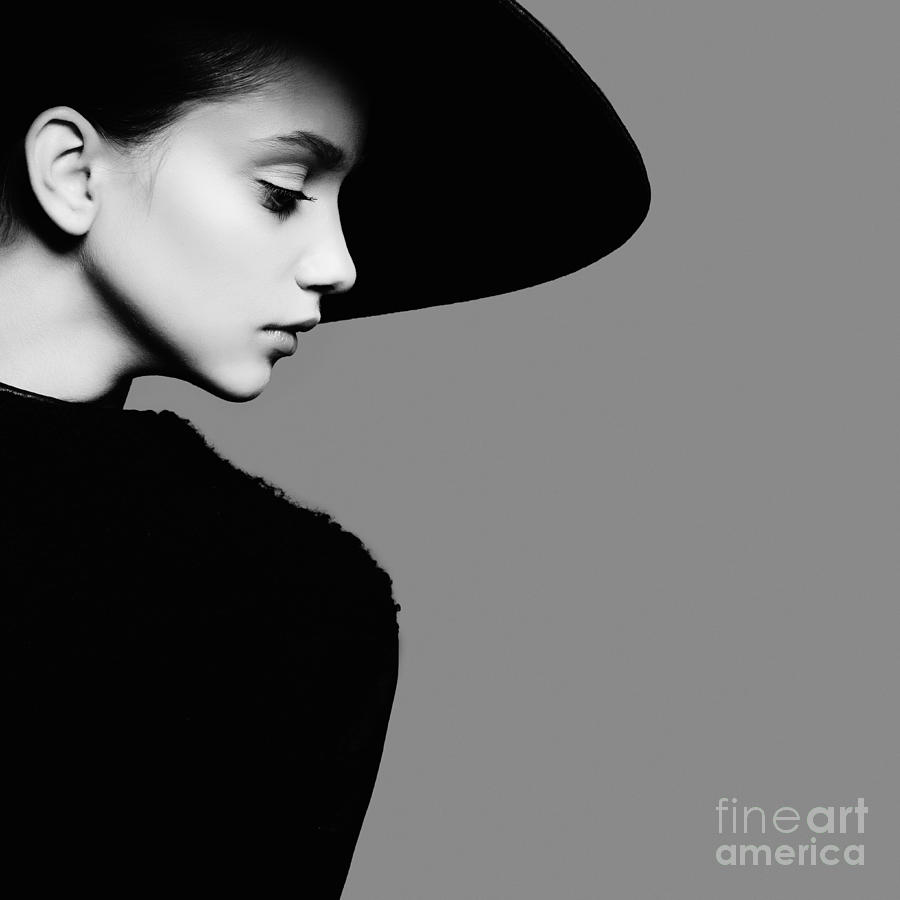 Makeup Photograph - Portrait Of Beautiful Girl In Hat In by Yuliya Yafimik