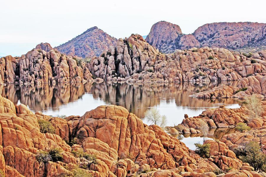 Prescott Arizona Watson Lake Rocks, Hills Water Sky Clouds 3122019 4868 Photograph by David Frederick