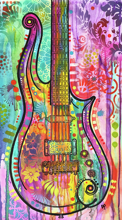 Guitars Mixed Media - Prince Cloud Guitar by Dean Russo