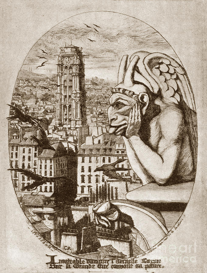 Print of Etching Gargoyle of Nortre-Dame Le Stryge 1853 by Charl by California Views Archives Mr Pat Hathaway Archives