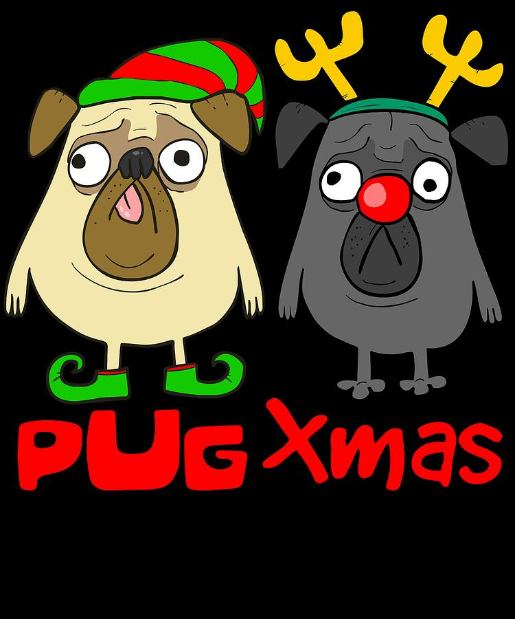 7efde01f31e8c Pug Xmas Digital Art by Louise Lench
