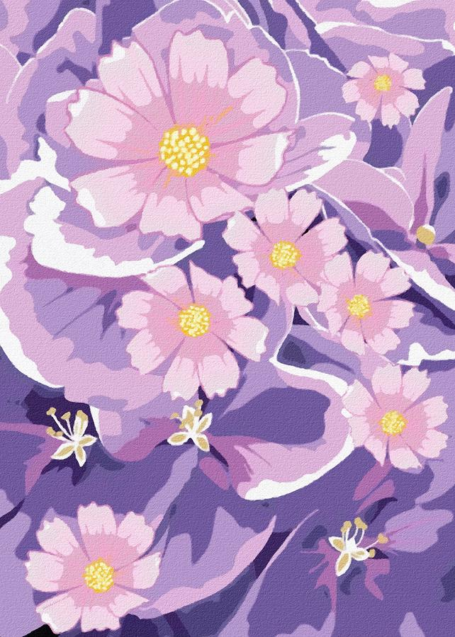 Purple Abstract Flowers Digital Art