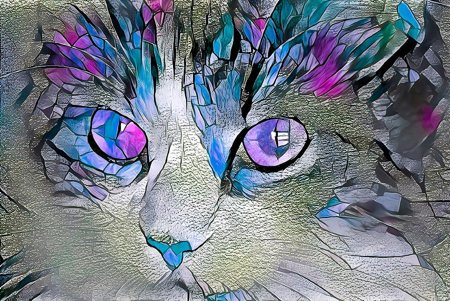 Purple Stained Glass Kitty by Don Northup