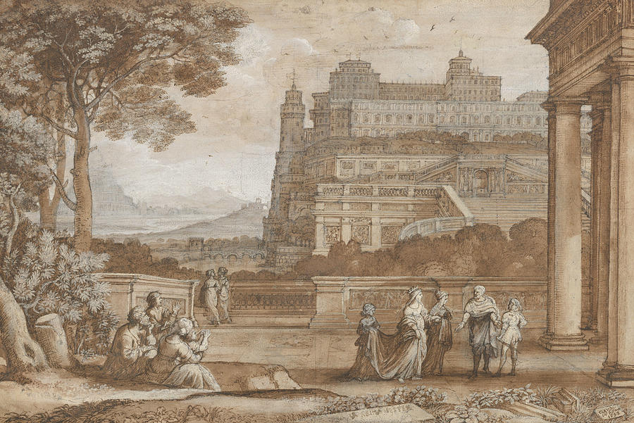 French Painters Drawing - Queen Esther Approaching The Palace Of Ahasuerus by Claude Lorrain