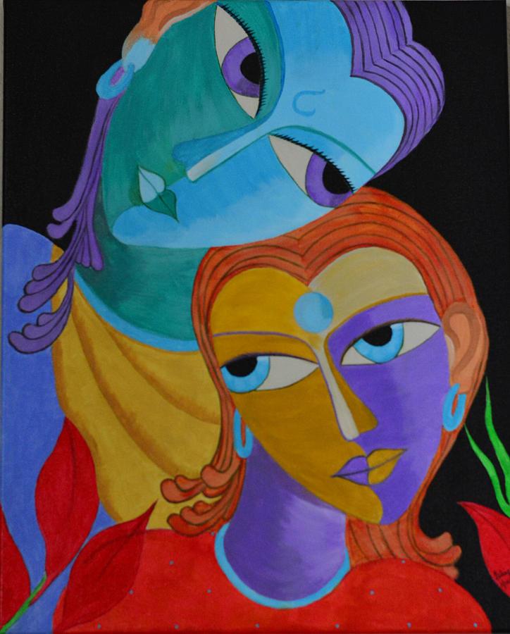 Radha Krishna Painting By Isha Gandhi