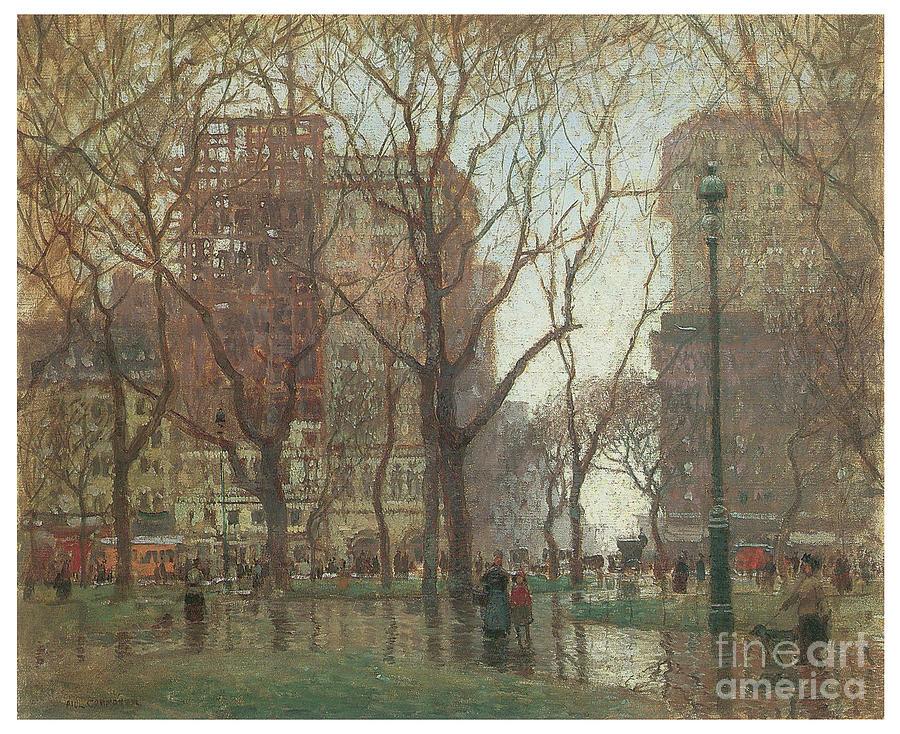 Rainy Day Madison Square New York by PAUL CORNOYER