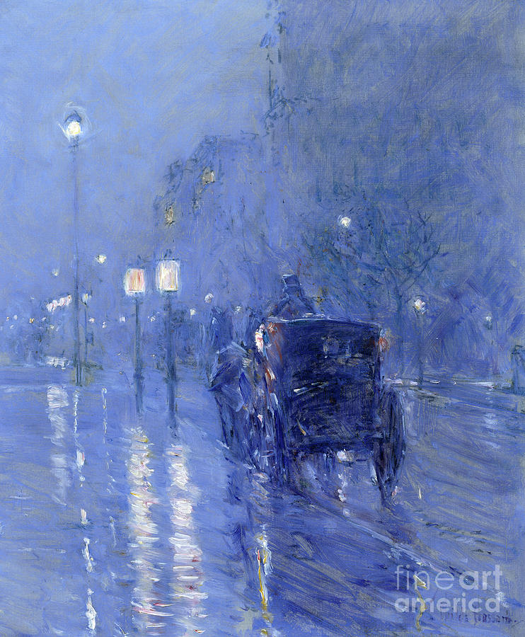 Street Lamp Painting - Rainy Midnight, Late 1890s  1 by Childe Hassam