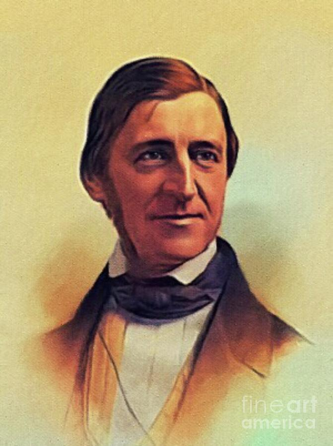Ralph Painting - Ralph Waldo Emerson, Literary Legend by Esoterica Art Agency