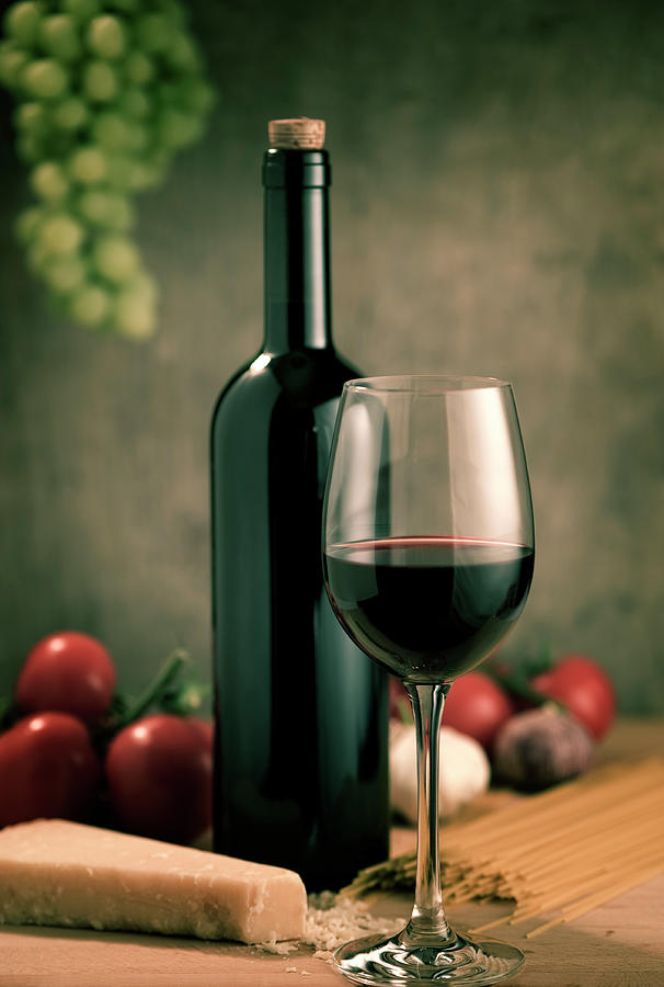 Red Wine And Food, Italian Style Photograph by Kontrast-fotodesign