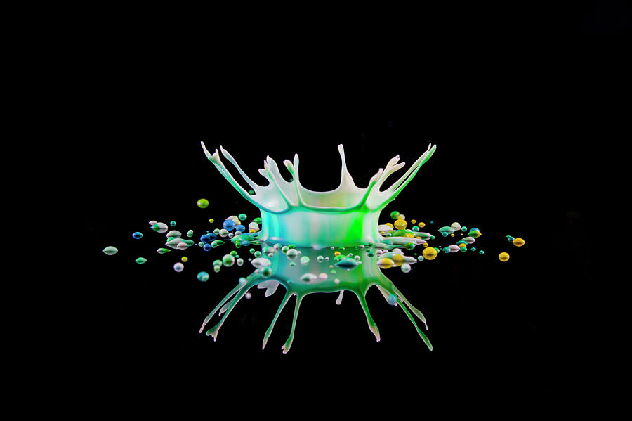 Reflected Splash Crown Of Coloured Photograph by Kim Westerskov