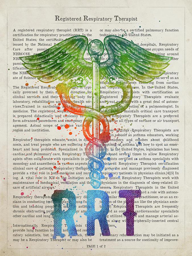 Rrt Digital Art - Registered Respiratory Therapist Gift Idea With Caduceus Illustr by Aged Pixel