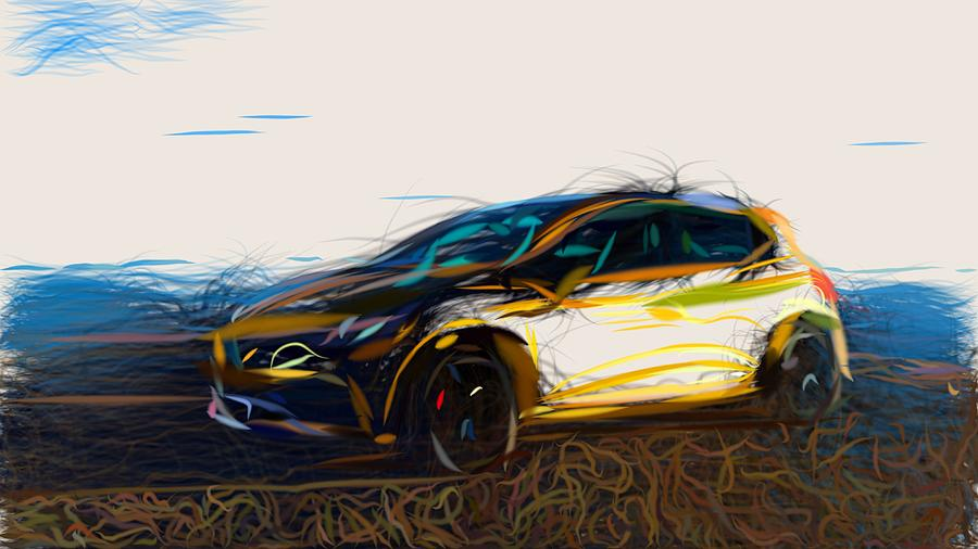 Renault Clio Rs 200 Edc Drawing Digital Art By Carstoon Concept