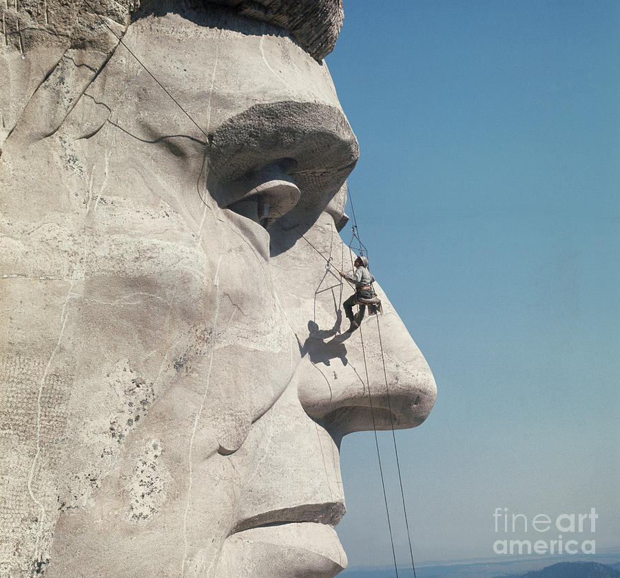 Repairman On Face Of Abraham Lincoln Photograph by Bettmann