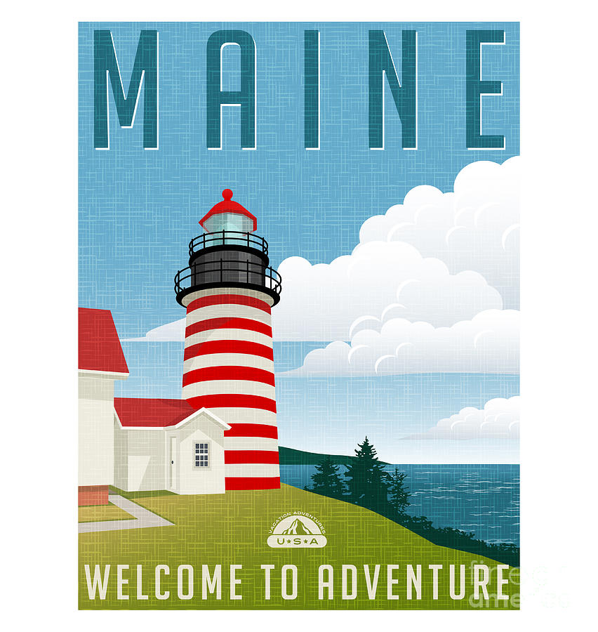 Usa Digital Art - Retro Style Travel Poster Or Sticker by Teddyandmia