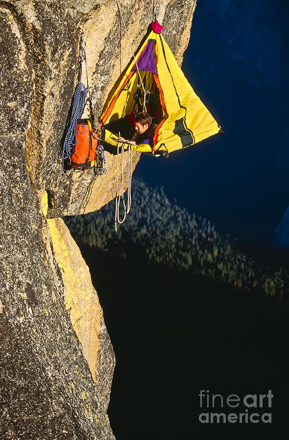 Strength Photograph - Rock Climber Bivouacked In His 1 by Greg Epperson