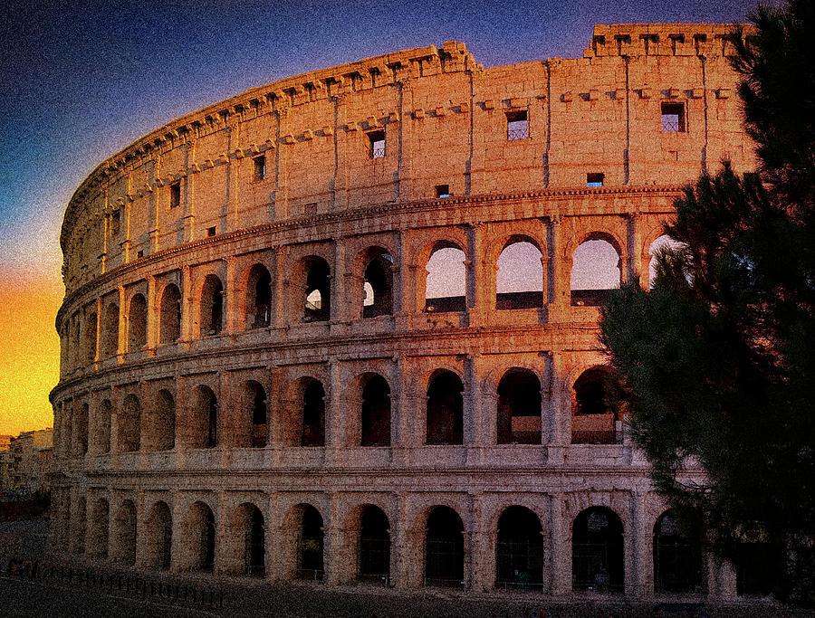 Roman Colosseum At Dusk by Robert Blandy Jr