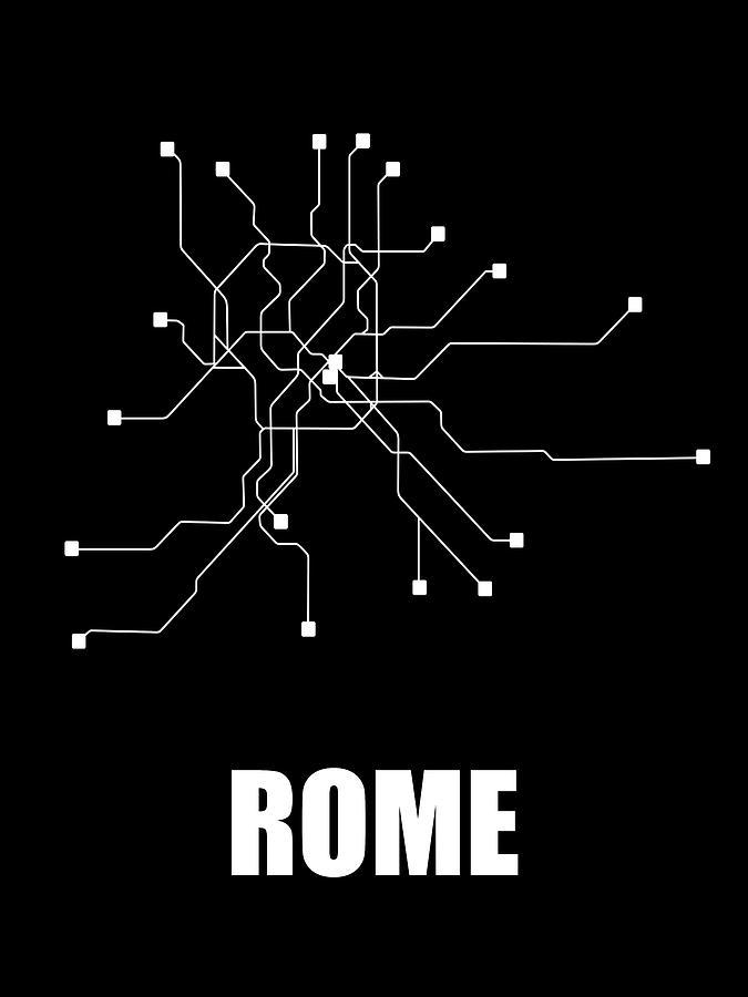 Black And White Subway Map.Rome Black Subway Map By Naxart Studio