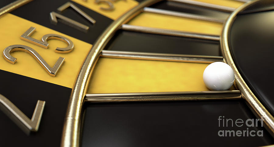 Roulette Digital Art - Roulette Wheel Black And Yellow by Allan Swart