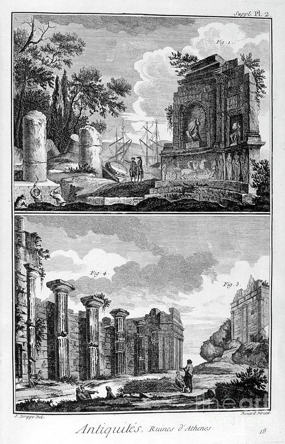 Ruins Of Athens, 1751-1777. Artist Drawing by Print Collector