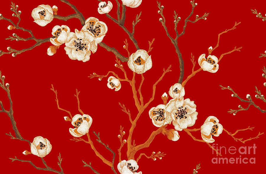 Cherry Digital Art - Sakura Branch On Red Background. Vector by Mamita